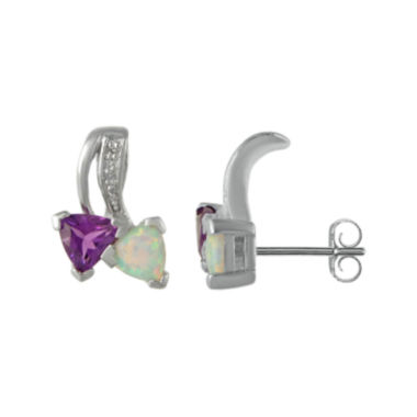 jcpenney.com | Lab-Created Opal and Genuine Amethyst Sterling Silver Earrings