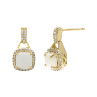 jcpenney.com | 1/3 CT. T.W. Diamond and Lab-Created Opal 10K Yellow Gold Hoop Drop Earrings