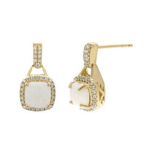 1/3 CT. T.W. Diamond and Lab-Created Opal 10K Yellow Gold Drop Earrings