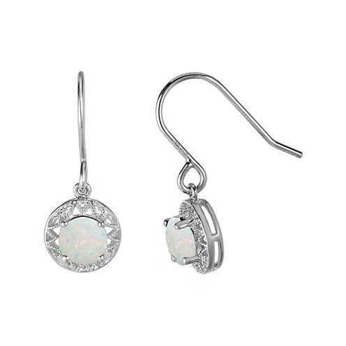 Lab-Created Opal Filigree Sterling Silver Drop Earrings
