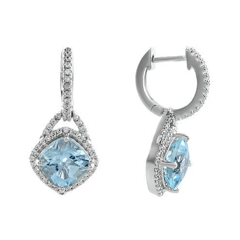 1/3 CT. T.W. Diamond and Genuine Aquamarine 10K White Gold Drop Earrings