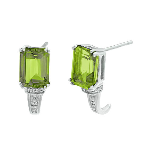 Genuine Peridot and Diamond-Accent 10K White Gold Earrings