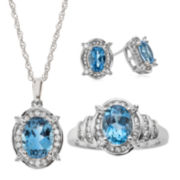 Genuine Blue Topaz and Lab-Created White Sapphire 3-pc. Jewelry Set