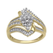 3/4 CT. T.W. Diamond 10K Yellow Gold Marquise-Style Cluster Ring
