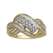diamond blossom 1/2 CT. T.W. Diamond 10K Yellow Gold 3-Cluster Swirl Ring
