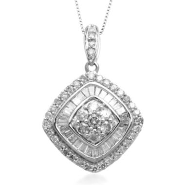 jcpenney.com | 1 CT. T.W. Diamond 10K White Gold Tilted Pendant Necklace