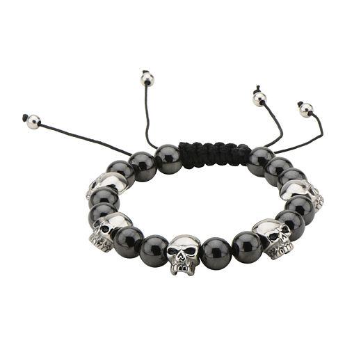 Mens Stainless Steel Skull and Onyx Bead Stretch Bracelet