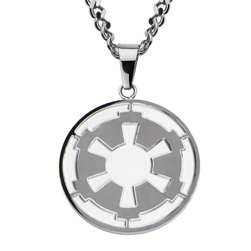 Star Wars® Death Star Symbol Mens Stainless Steel Pendant Necklace