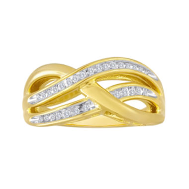 jcpenney.com | 1/10 CT. T.W. Diamond 14K Gold Over Silver Crisscross Ring