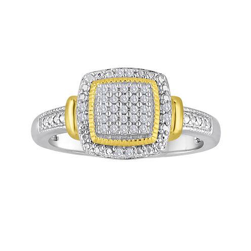 1/10 CT. T.W. Diamond Two-Tone Frame Ring