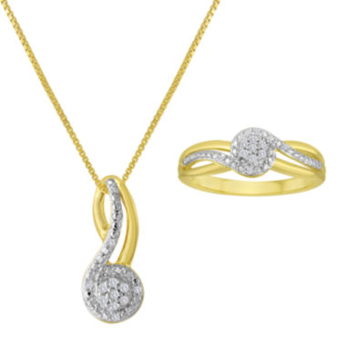 jcpenney.com | 1/10 CT. T.W. Diamond 14K Yellow Gold Over Sterling Silver Pendant Necklace and Ring Set