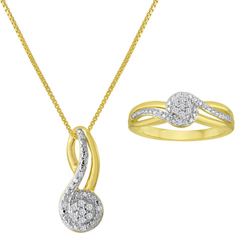 1/10 CT. T.W. Diamond 14K Yellow Gold Over Sterling Silver Pendant Necklace and Ring Set