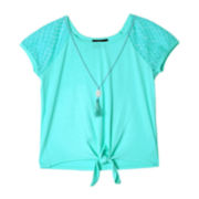by&by Girl Tie-Front Top and Necklace - Girls 7-16