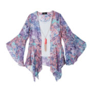 by&by Girl Kimono Top and Necklace - Girls 7-16