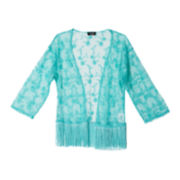 by&by Girl Fringe Lace Kimono - Girls 7-16