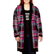 Arizona Long-Sleeve Brushed Plaid Duster - Juniors Plus