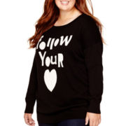 Arizona Long-Sleeve Pullover Tunic Sweater - Juniors Plus