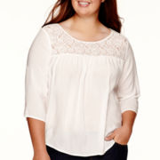 Arizona 3/4-Sleeve Lace-Yoke Woven Top - Juniors Plus