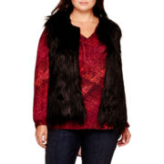 a.n.a® Sleeveless Faux-Fur Vest - Plus