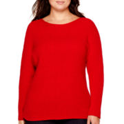 a.n.a® Dolman-Sleeve Ribbed Sweater - Plus