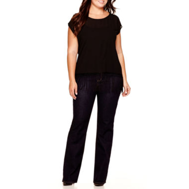 jcpenney.com | a.n.a® Fringe Hem Popover Top or Bootcut Jeans - Plus