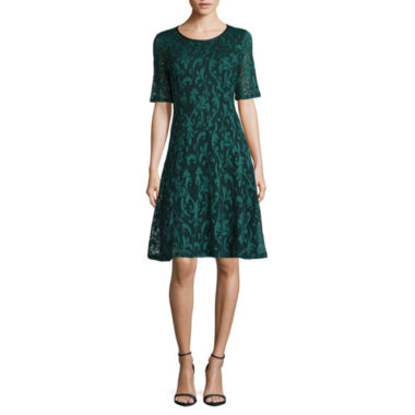 jcpenney.com | Tiana B Elbow Sleeve Lace Fit & Flare Dress
