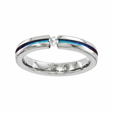 jcpenney.com | Edward Mirell Mens White Sapphire Titanium Wedding Band