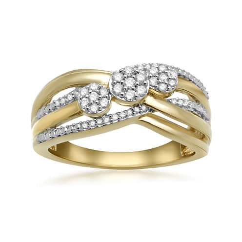 Diamond Blossom Womens 1/4 CT. T.W. White Diamond Gold Over Silver Cocktail Ring