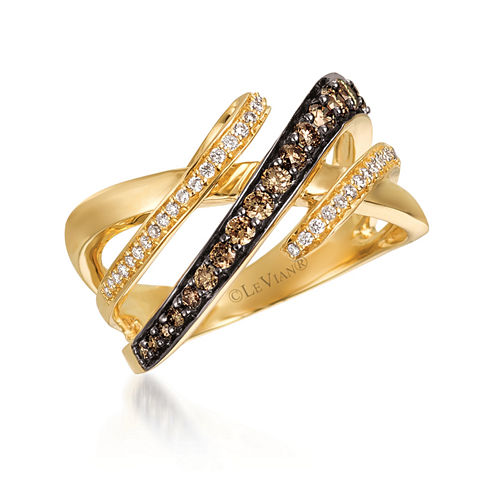 Le Vian Womens 1/2 CT. T.W. Champagne Diamond 14K Gold Cocktail Ring