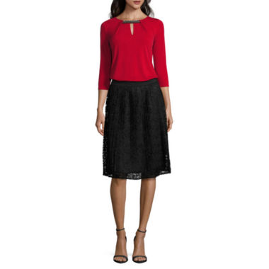 jcpenney.com | Liz Claiborne 3/4 Sleeve Embellished Keyhole Neck Top and Lace Skirt
