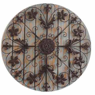 jcpenney.com | Filigree Circle On Wood Panels Wall Decor