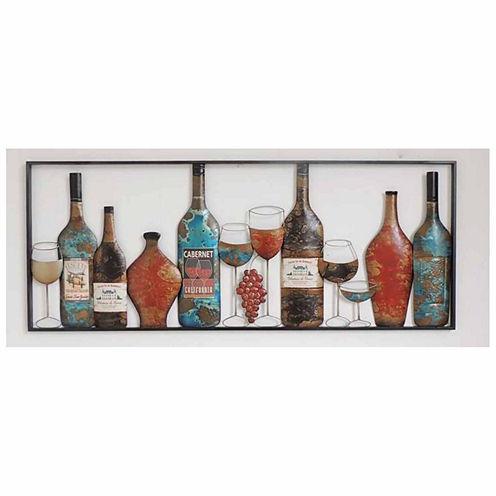 Wine Bottles Glasses Wall Decor