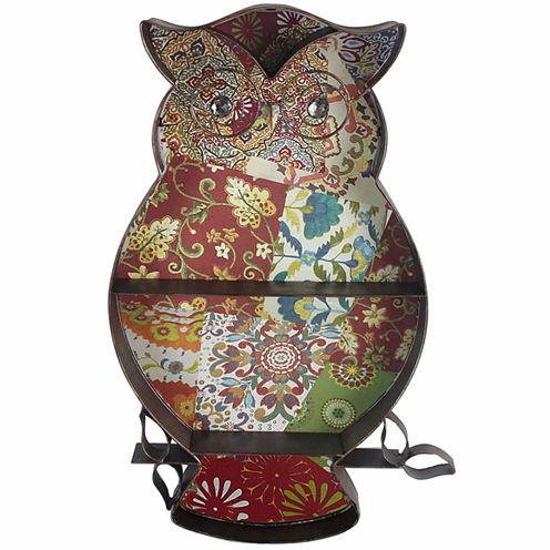 Owl Cutout With Shelves Wall Decor
