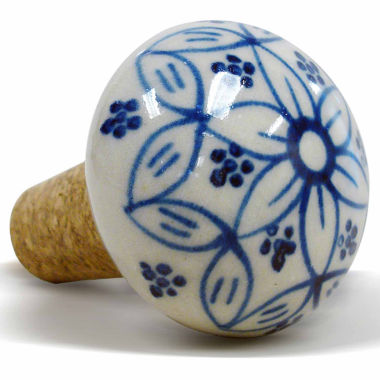 jcpenney.com | Epicureanist Blue And White Floral Ceramic Wine Bottle Topper