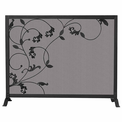 Blue Rhino Single Panel Leaf Design Fireplace Screen