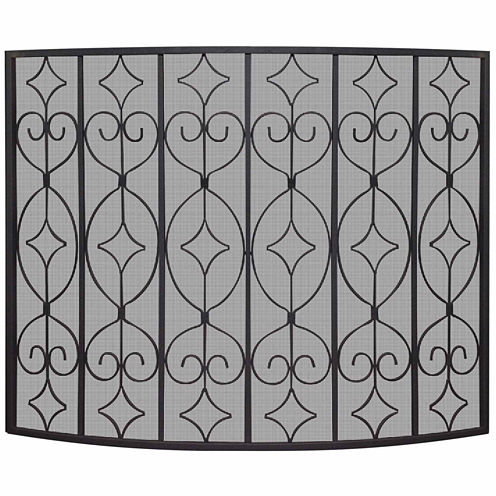 Blue Rhino Single Panel Wrought Curved Fireplace Screen