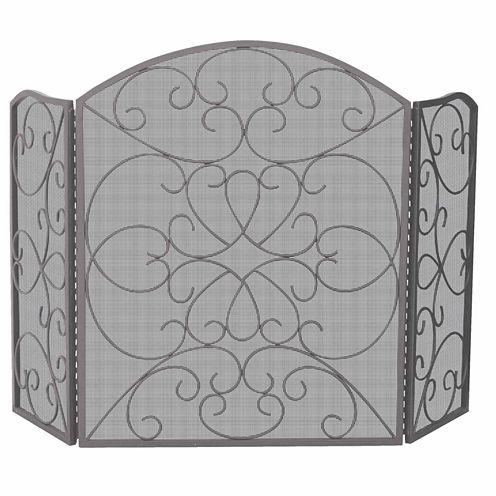 Blue Rhino 3 Fold Bronze Ornate Fireplace Screen