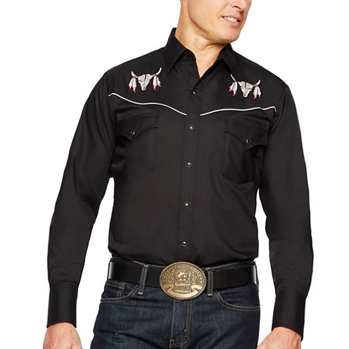 Ely Cattleman Long Sleeve Snap-Front Eagle Embroidered Western Shirt