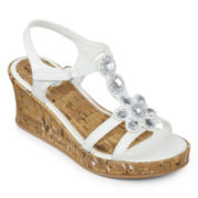 Total Girl® Monoco Girls Wedge Sandals - Little Kids/Big Kids