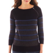 Liz Claiborne® 3/4-Sleeve Zip-Neck Sweater - Tall