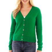Liz Claiborne® Long-Sleeve Basketweave Cardigan Sweater - Tall