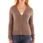 Liz Claiborne Long-Sleeve Basketweave Cardigan Sweater - Tall