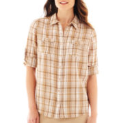 St. John's Bay® 3/4-Sleeve Gauze Campshirt - Tall