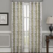 Damask Stripe Rod-Pocket Curtain Panel