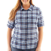 St. John's Bay® Elbow-Sleeve Roll-Tab Campshirt - Plus