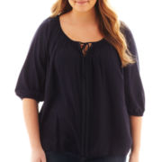 St. John's Bay® Beaded Tie-Neck Peasant Top - Plus