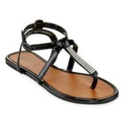 Rhinestone T-Strap Sandals