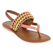 Metal and Ribbon Sandals