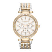 Liz Claiborne Womens Two-Tone & Crystal-Accent Oversized Watch
