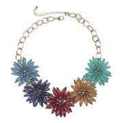 Mixit™ Gold-Tone Multicolor 3D Flower Statement Necklace
